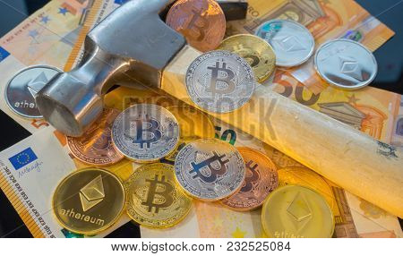 Payment Bitcoin mining or mine for bitcoin, compared to the traditional idea of physical mining with a pickaxe