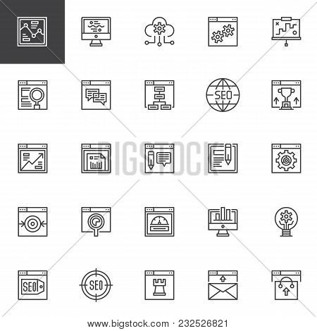 Seo And Online Marketing Outline Icons Set. Linear Style Symbols Collection, Line Signs Pack. Vector