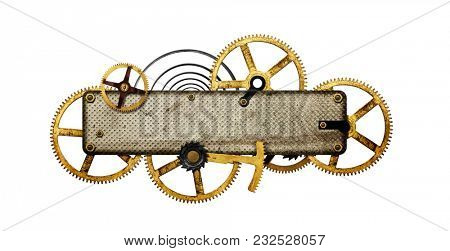 Steampunk collage -Metal collage of clockwork gears isolated on white background