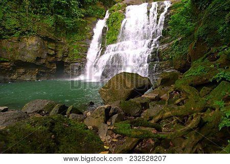 Waterfall Closeup Long Exposure. Beautiful Waterfall In The Forest. Natural River Waterfall.