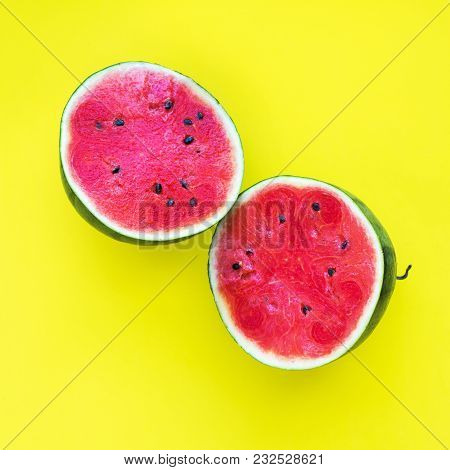 Water Melon One Whole Tropical Fruit Yellow Background Object Useful Natural Organic Food Style Mini