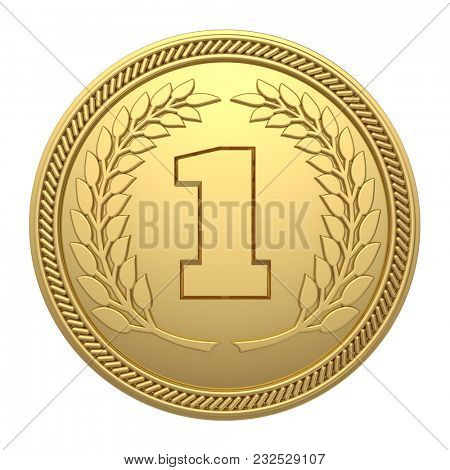 Gold Medal Isolated on White Background. 1st Place Medal. 3D Illustration.