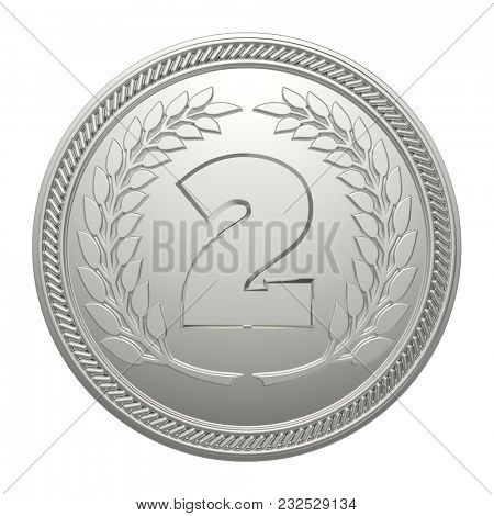 Silver Medal Isolated on White Background. 2nd Place Medal. 3D Illustration.