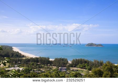 Songkhla City Travel Top View From Tang Kuan Mountain In South Thailand.