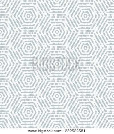 Abstract Geometric Pattern By Hexagons. A Seamless Background. Blue And White Ornament