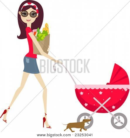 Young lady and pram