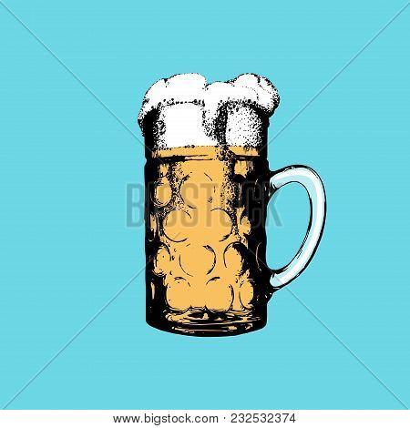 Oktoberfest Symbol On Turquoise Background. Hand Drawn Illustration Of Glass Mug For Poster, Label O