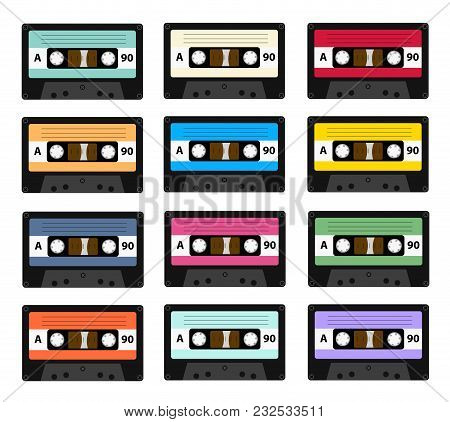 Set Of Audio Cassette Old Tape Recorders Used In The 80s Of The 20th Century. It Can Be Used As An I
