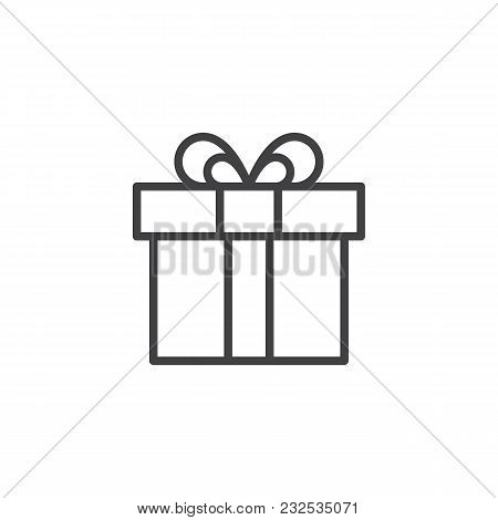Gift Box Outline Icon. Linear Style Sign For Mobile Concept And Web Design. Present Simple Line Vect