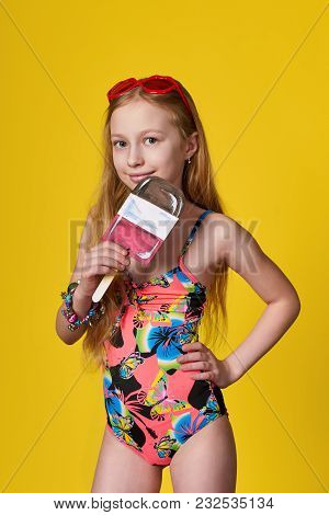 Fashion Sunny Photo Isolated Yellow Background In Studio.portrait Caucasian Blonde Girl Smile In Col