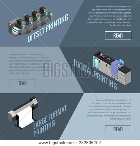 Banner On The Topic Of Offset And Digital Printing Of Images, Isometric Image