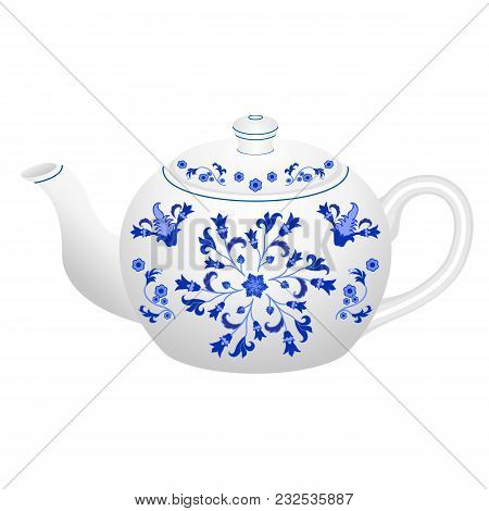 Porcelain Teapot For Tea Set Ornate In Traditional Russian Style Gzhel With Oriental Vintage Pattern