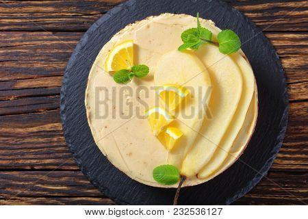 Tasty Pear Sponge Cake, Top View