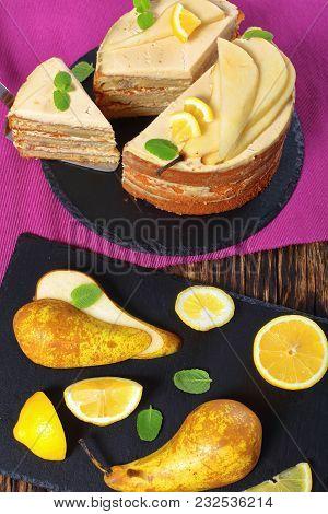 Homemade Pear Sponge Cake, Close Up