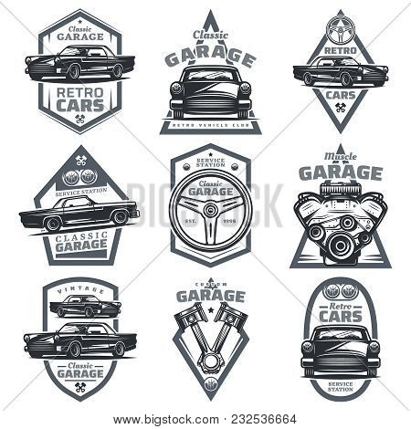 Retro Vehicle Club Emblems Set With Classic Automobiles Steering Wheel Motor Engine Pistons In Vinta