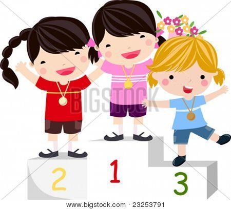 Tre ragazze sorridente sul podio