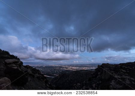 Stormy winter sky after sunset above the San Fernando Valley in Los Angeles California.  Shot from Rocky Peak Park in the Santa Susana Mountains near Simi Valley.
