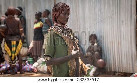 Omo Valley, Ethiopia - September 2017: Unidentified Woman From The Tribe Of Hamar In The Omo Valley