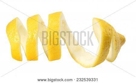 Fresh Lemon Peel Isolated On White Background. Healthy Food