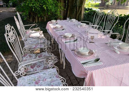 Reserved Dining Table Outdoor Garden Vintage Style On The River Side.