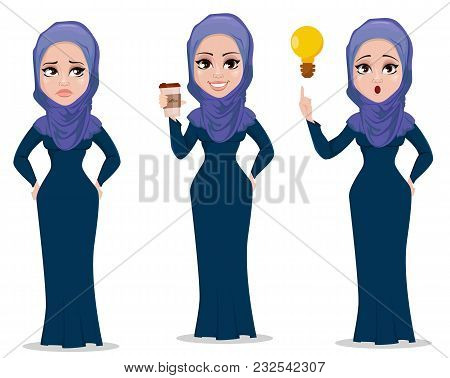 Arabic Business Woman Cartoon Character Set. Young Muslim Businesswoman In Casual Clothes Stands Sad