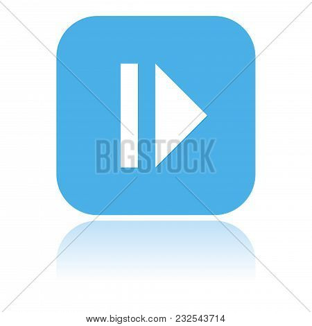 Pause Icon. Blue Square Icon With Reflection. Vector Illustration On White Background