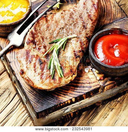 Beef Steak With Twig Rosemary
