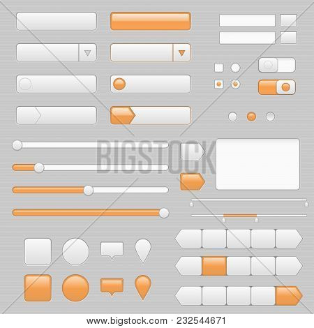 Web Interface Buttons, Slider And Icons With Orange Tags. Vector Illustration