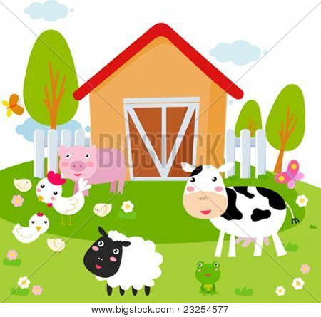 Rural landscape with farm animals.