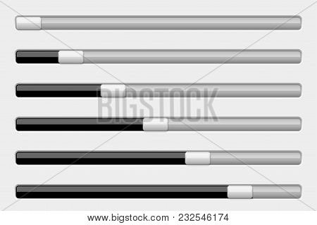 Interface Slider Bar. Black And Gray. Vector 3d Illustration