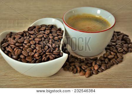 Mug With Espresso Coffee, And Coffee Beans, Heart Shape