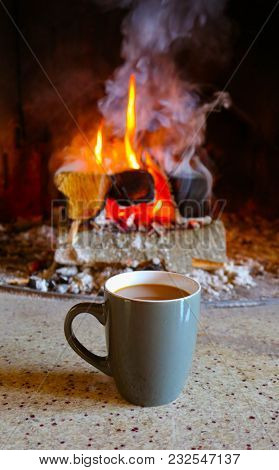 Bright Colorful Flame, Burning Wood At The Fireplace, Coffee Cap. Coffee Cap, Firewood Fire On The B