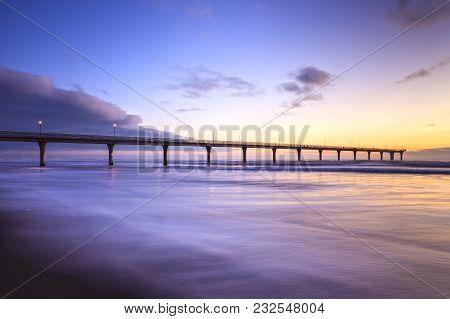 New Brighton Pier, Christchurch, New Zealand, Sunrise - The Pier At New Brighton, Christchurch, New
