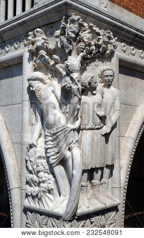 VENICE, ITALY - MAY 28: Sculpture of Noah drunkenness, detail of the Doge Palace, St. Mark Square, Venice, Italy, UNESCO World Heritage Sites on May 28, 2017.