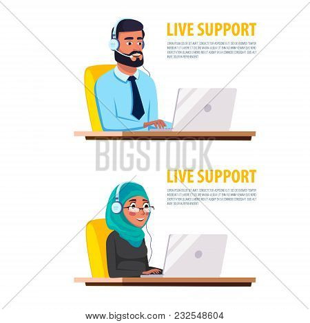 Vector Cartoon Muslim Arab Man Khaliji Woman Call Center Helpline Workplace Desk. Male Female Office