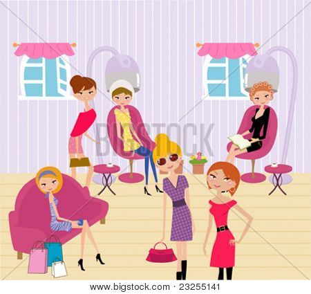 women in a beauty salon getting a hairstyle and manicure