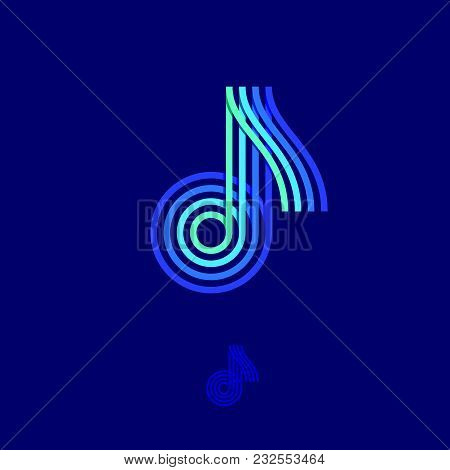 Music Logo. Note Emblem. Multi-colored Logo As A Note On A Dark Background.