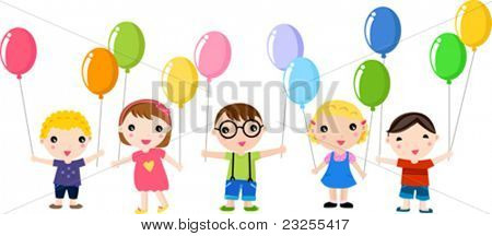 Cute happy kids with balloons.