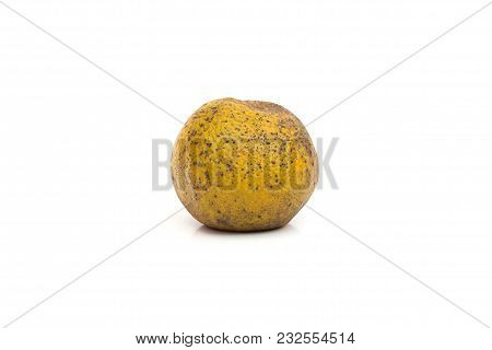 Rotten Orange With Spot On Peel Isolated On White Background