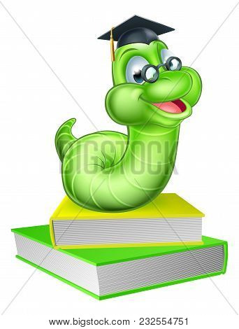 Cute Smiling Green Cartoon Caterpillar Worm Bookworm Mascot Wearing Glasses And Graduation Hat With
