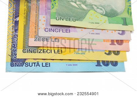 Different Romanian Polymer Banknotes Currency Over White