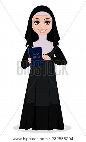 Nun Cartoon Character. Smiling Catholic Sister Holds Bible. Vector Illustration On White Background.