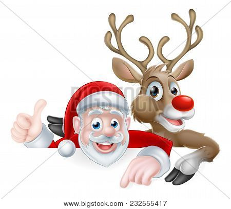 Christmas Illustration Of Cartoon Santa And Reindeer Peeking Above Sign Pointing And Giving Athumbs