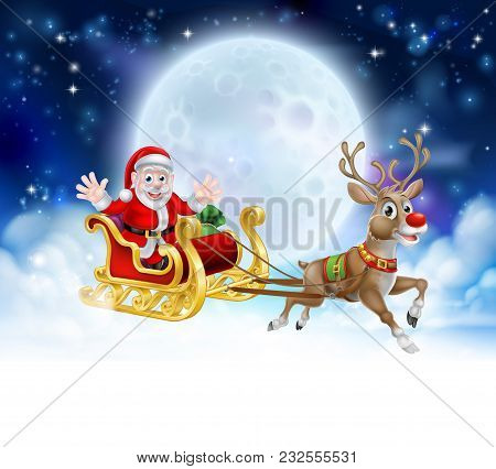 Santa Christmas Moon Background With Clouds And Stars. Fades To White At The Bottom For Easy Use As