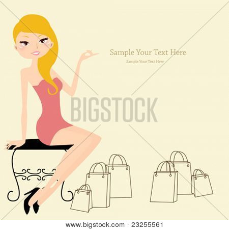 sitting woman after shopping