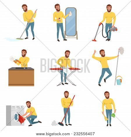 Bearded Man With Different Household Chores. Cleaning Floor With Mop And Vacuum Cleaner, Washing Dis