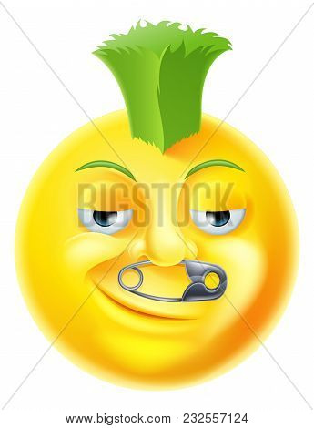 A Cartoon Punk Emoji Emoticon With Green Mohawk And A Safety Pin Through His Nose