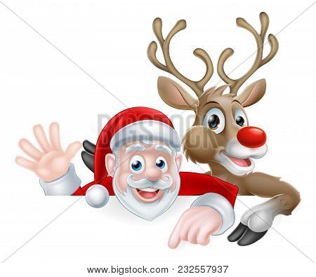 Christmas Illustration Of Cartoon Santa And Reindeer Peeking Above Sign Pointing And Waving