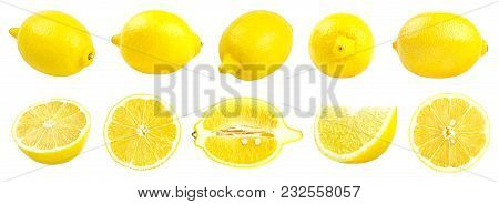 Collection Of Fresh Yellow Lemons Isolated On White Background. Set Of Multiple Images. Part Of Seri