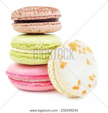 Different Types Of French Sweet Delicacy, Macaroons. Isolated On White Background.